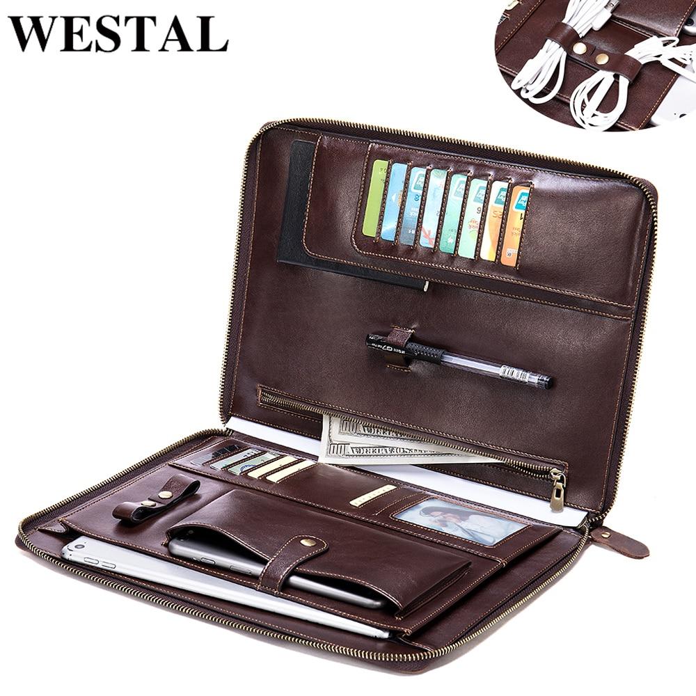 WESTAL Men's Clutch Bag Genuine Leather Clutch Male Office Notebook Document Bag File Folder Portfolio Briefcase Organizer Case