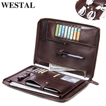 WESTAL men's clutch bag genuine leather clutch male office notebook document bag file folder portfolio briefcase organizer case