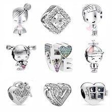 2021 nova família amor pássaro menino e menina para sempre contas caber original pandora encantos prata cor pulseiras diy jóias feminino presentes