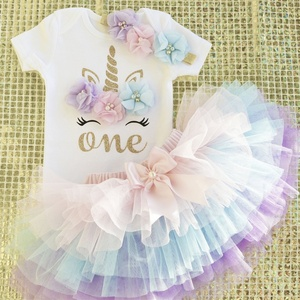 3pcs Unicorn Birthday Outfits Newborn Baby Girl 1 Year Old Birthday Party Clothing Set Mini tutu Dress Baby Girls Clothes 0-12M(China)