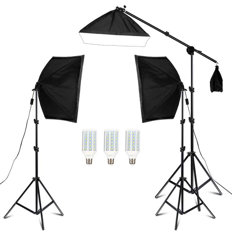 20w photography studio lighting kit arm for video and youtube continuous lighting 50cm 70cm professional lighting set softbox