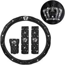 2021 Fashion Women PU Leather Car Steering Wheel Cover Diamond Black Pink Auto Wheel Covers Cases for Lady Girls Car Accessories