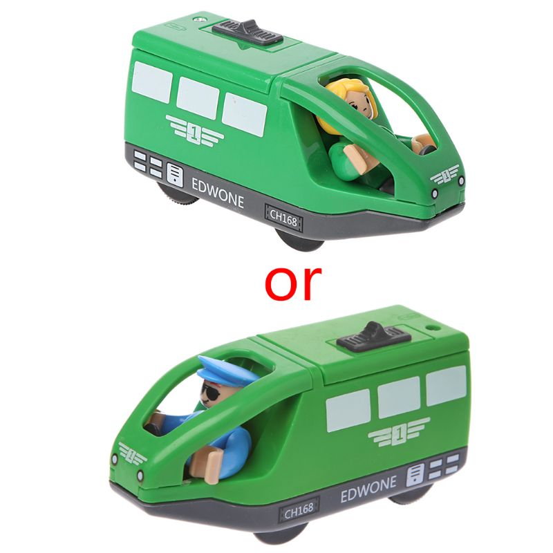 Electronic Train Vehicle Toy Magnetic Wooden Slot Diecast Gift For Children Kids 634F