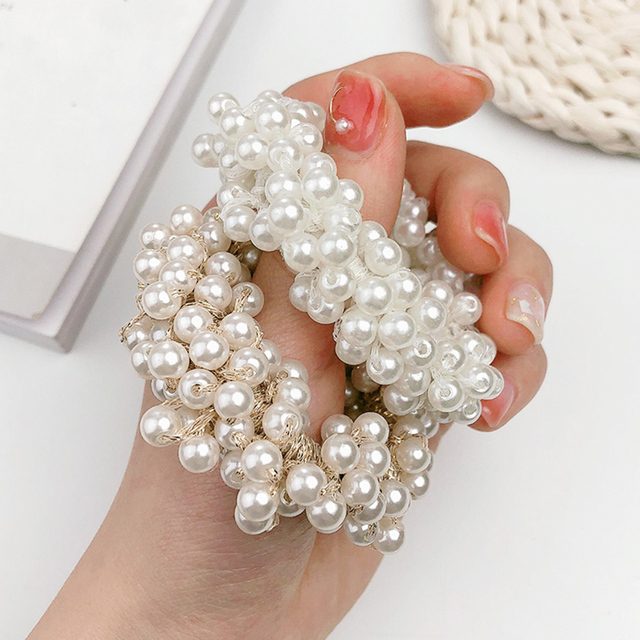 Woman Big Pearl Hair Ties Fashion Korean Style Hairband Scrunchies Girls Ponytail Holders Rubber Band Hair Accessories 3