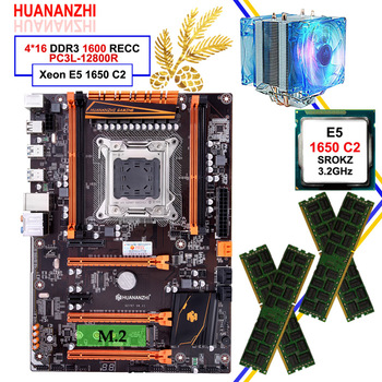 HUANANZHI deluxe X79 LGA2011 gaming motherboard with M.2 NVMe CPU Intel Xeon E5 1650 C2 3.2GHz with cooler RAM 64G(4*16G) RECC