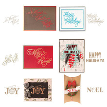 Merry Bright Joy Happy Holiday Noel  Letter Hot Foil Plate for DIY Scrapbooking Letterpress Embossing Paper Card Crafts New 2019