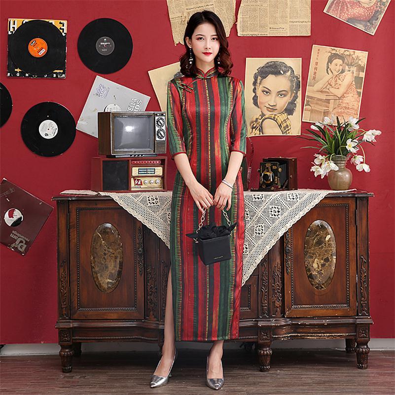 Vintage Mandarin Collar Qipao Women  Cheongsam Chinese Traditional Dress Lace Trim Print  Satin Dress  M-4XL