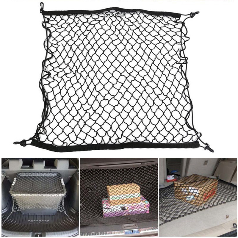 70 X 70cm Universal Car Trunk Net Luggage Storage Cargo Organizer Nylon Stretchable Elastic Mesh Net with 4 Plastic Hooks