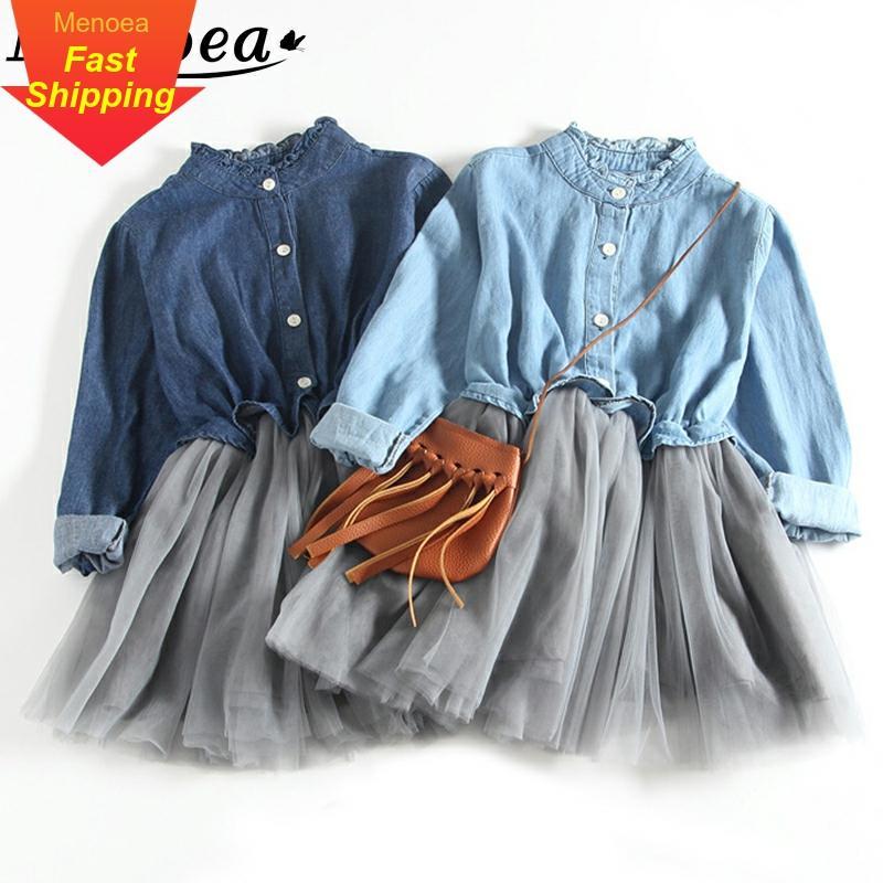 Menoea Mädchen Sommer Kleidung 2020 Frühling Stil Kinder Lange-Sleeve Dots Bogen Dunst Blau Mesh Kleid Kinder Für Kinder prinzessin Kleid