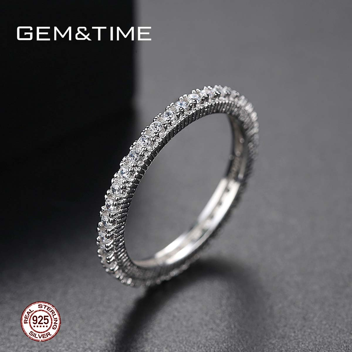 Gem&Time Classic 925 Sterling Silver High Quality Circle Clear CZ Geometric Stackable Rings For Women Wedding Jewelry Gif SR0139