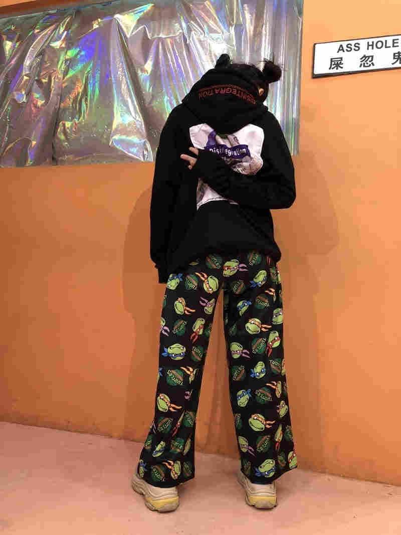 2020 yeni Retro karikatür baskılı pantolon Harajuku Streetwear moda pantolon kadın erkek Hip Hop elastik bel geniş bacak pantolon pantolon