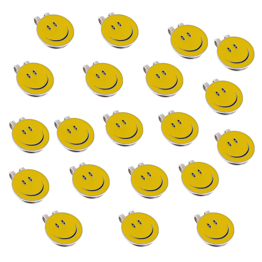 20 Pieces Lovely Smile Face Magnetic Golf Ball Marker / Cap Visor Hat Clip - Yellow