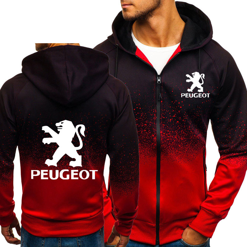 Hoodies Men Peugeot Car Logo Print Casual HipHop Harajuku Gradient Color Hooded Fleece Sweatshirts Zipper Jacket Man Clothing