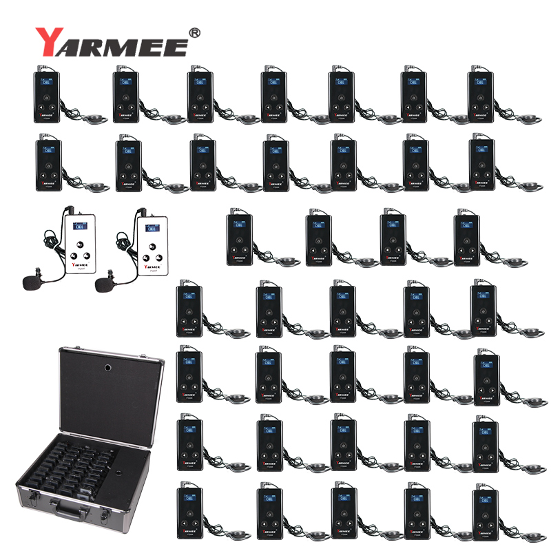 YARMEE Full Set Portable Wireless Guide System Including 2 Transmitters +38 Receivers+ All accessories+Charger case title=