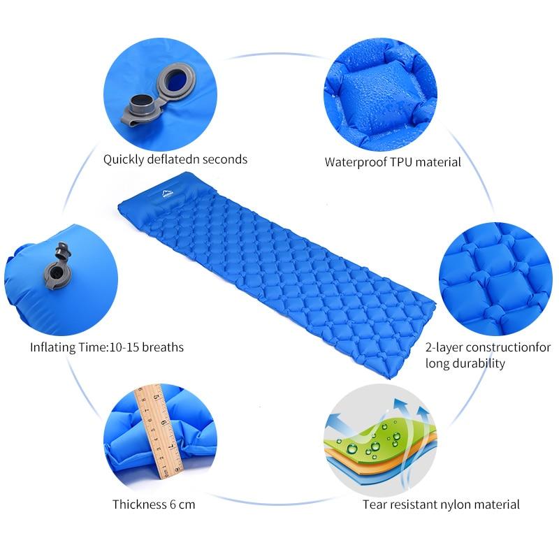 Large coussin de couchage gonflable, matelas à air pneumatique, couchette d'extérieur, mobilier ultraléger de randonnée 3