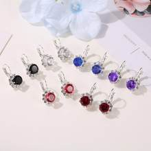 High Quality 6 Colors Big Blue Crystal Stone Rhinestone Drop Earrings for women girl best gift Pendientes Mujer Drop shipping(China)
