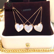 ANI 18K Solid Rose Gold Necklace Natural Pearl Shell Pendant Real Diamond Necklace for Women Engagement Wedding Heart Shape