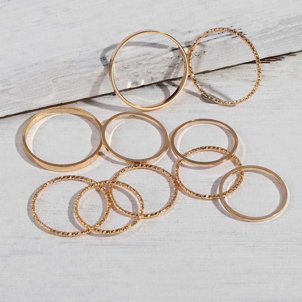 10 adet/takım 2020 moda basit tasarım anillos Vintage altın gümüş renk ortak yüzük setleri kadınlar takı için kore versiyonu ortak