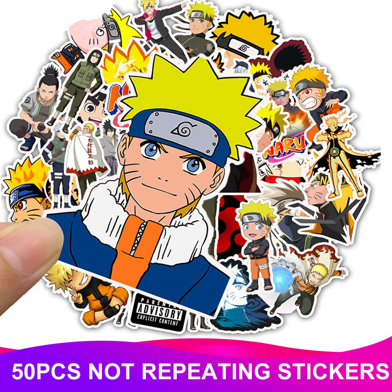 50pcs/Pack Cartoon Anime NARUTO Stickers PVC Waterproof Laptop Suitcase Motorcycle Car Styling DIY Decoration Funny Sticker Toy