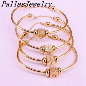 Image 3 - 6Pcs New Hight Quality Gold Color Metal Bangle Inlay Cubic Zirconia 26 Letter Spacer Bead Women Cuff Bangles Bracelets