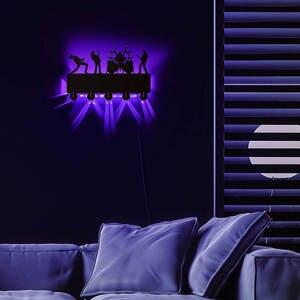 Image 4 - Rock Band LED crochets muraux lumineux décor de ménage bande de musique multicolore porte manteau porte clés cadeau pour chanteur idole
