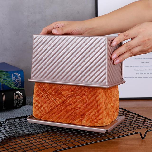 Pullman pain poêle à Champagne antiadhésif | Boîte à Toast en aluminium avec couvercle épaisseur 450mm, moule à pain en alliage daluminium, 1.0g