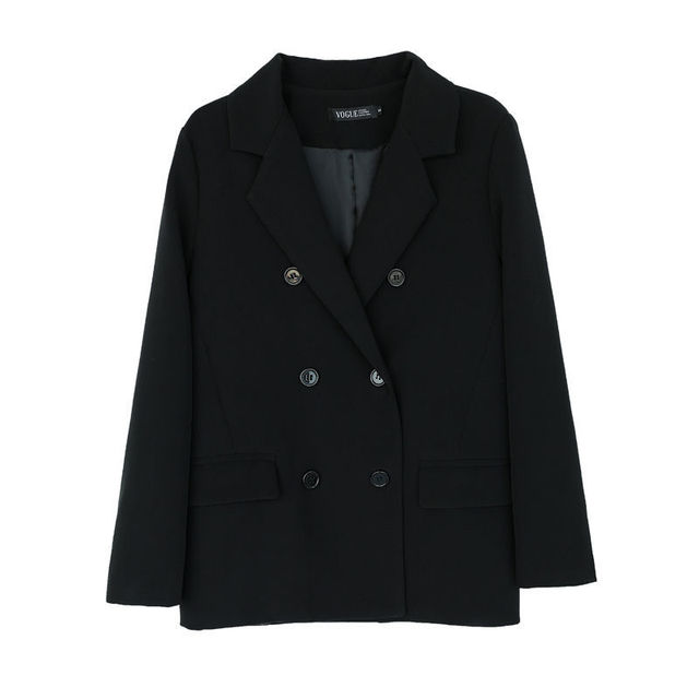 2021 Free Shipping Spring Autumn New Loose Black Coat Suit Women Fashion Simple Commuter Work Wear Jacket 6