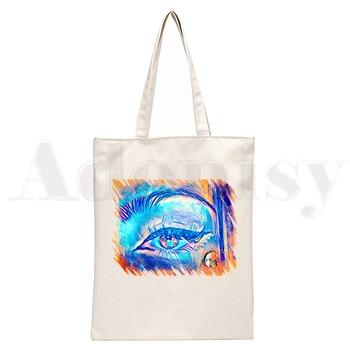 Ice Coffee Splatter Charli DAmelio Ulzzang Print Reusable Shopping Women Canvas Tote Bags Eco Shopper Shoulder Bags 7