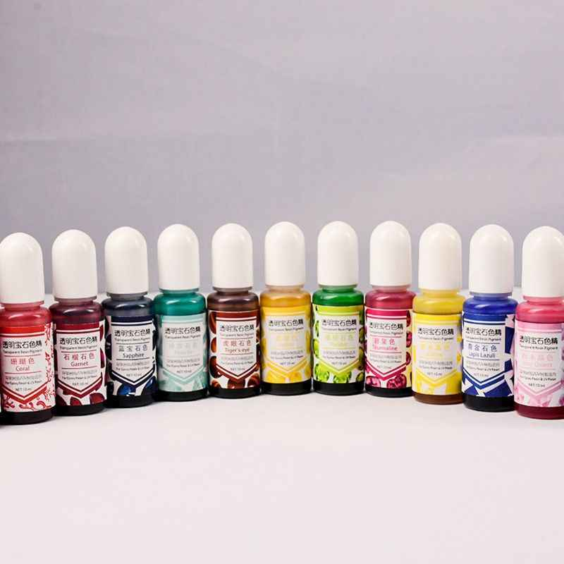 24 cores cola epoxy resina uv gem pigmento líquido tinta de resina transparente colorante resina uv coloração diy arte resina jejuamente fazendo