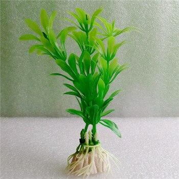 Acuario plantas artificiales verdes plantas de acuario ornamento plástico desposito de agua plastico 6 piezas