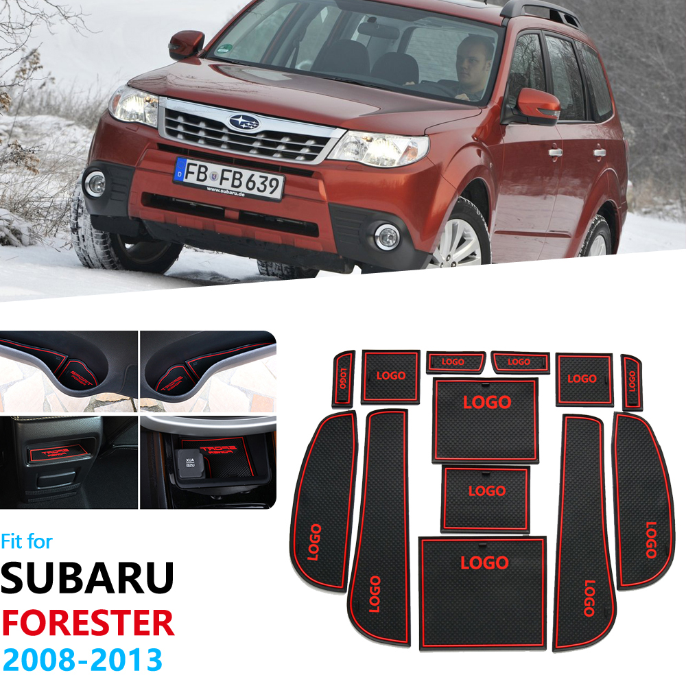 For  Subaru Forester 2008 2009 2010 2011 2012 2013 SH Anti-Slip Rubber Gate Slot Cup Mat Door Groove Accessories Car Stickers