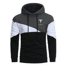 2021 New Tesla Winter Mens Hoodies Patchwork Hoodies Men Casual Hooded Jacket Fashion Mens Hoodies Sweatshirts