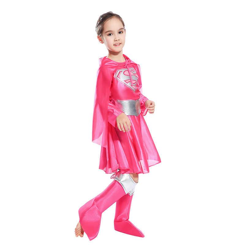 2019 niñas Superwoman papel rosa faldas superhéroe de los niños Halloween Navidad maquillaje Cosplay personajes vestido traje ropa