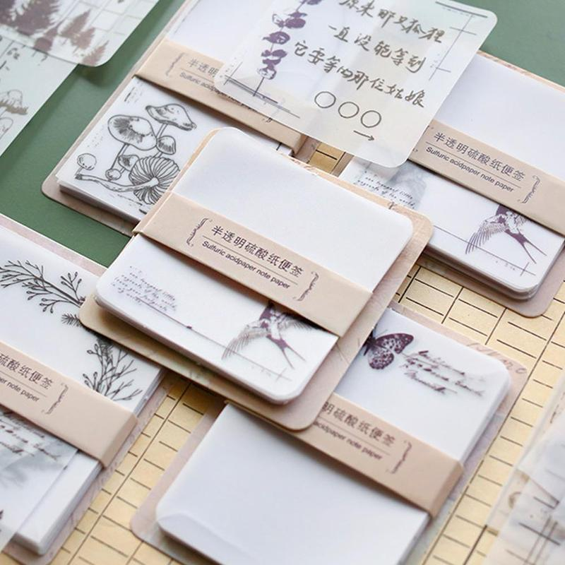 30pcs Translucent Tear-off Note Pad Memo Pad Translucent Message Note Book School Stationery Supplies Vegetable Sulfate Paper