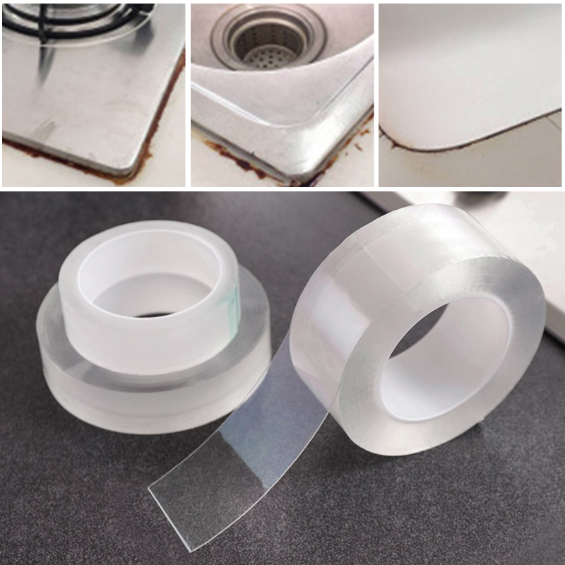 Super Strong Fiber Waterproof Tape Wall Sealing Sealant Strip Caulk Tape Sealing Tape Protector For Bath Shower Stove Sink image