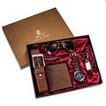 Модные часы для мужчин, роскошные подарки, набор солнцезащитных очков, высокое качество, ремень, наручные часы, складной кошелек, брелок, шар...