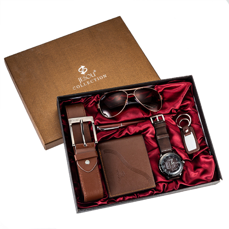 Fashion Watch Men Luxury Gifts Set Sunglasses Top Quality Belt Wrist Watch Folding Wallet Keychain Ballpoint Pen For Father Men
