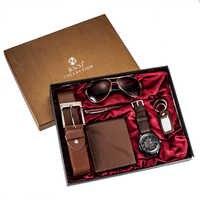 Mode Uhr Männer Luxus Geschenke Set Sonnenbrille Top Qualität Gürtel Armbanduhr Folding brieftasche Keychain Kugelschreiber Für Vater Männer