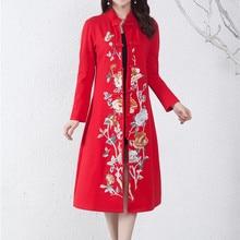 Женское длинное платье в китайском стиле ручной работы с вышивкой, хлопковое женское платье hanfu, Национальный костюм для выступлений