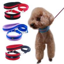 Собака воротник поводок регулируемый сетки дышащий привести кота светоотражающий мягкий поводок для щенка малых, средних крупных собак