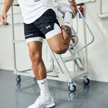 Nowy lato 2021 szorty do biegania 2 w 1 męskie sportowe do biegania szorty fitness trening gimnastyczny szybkoschnący spodenki sportowe męskie szorty tanie tanio UVRCOS CN (pochodzenie) spandex Bieganie Dobrze pasuje do rozmiaru wybierz swój normalny rozmiar shorts Patchwork