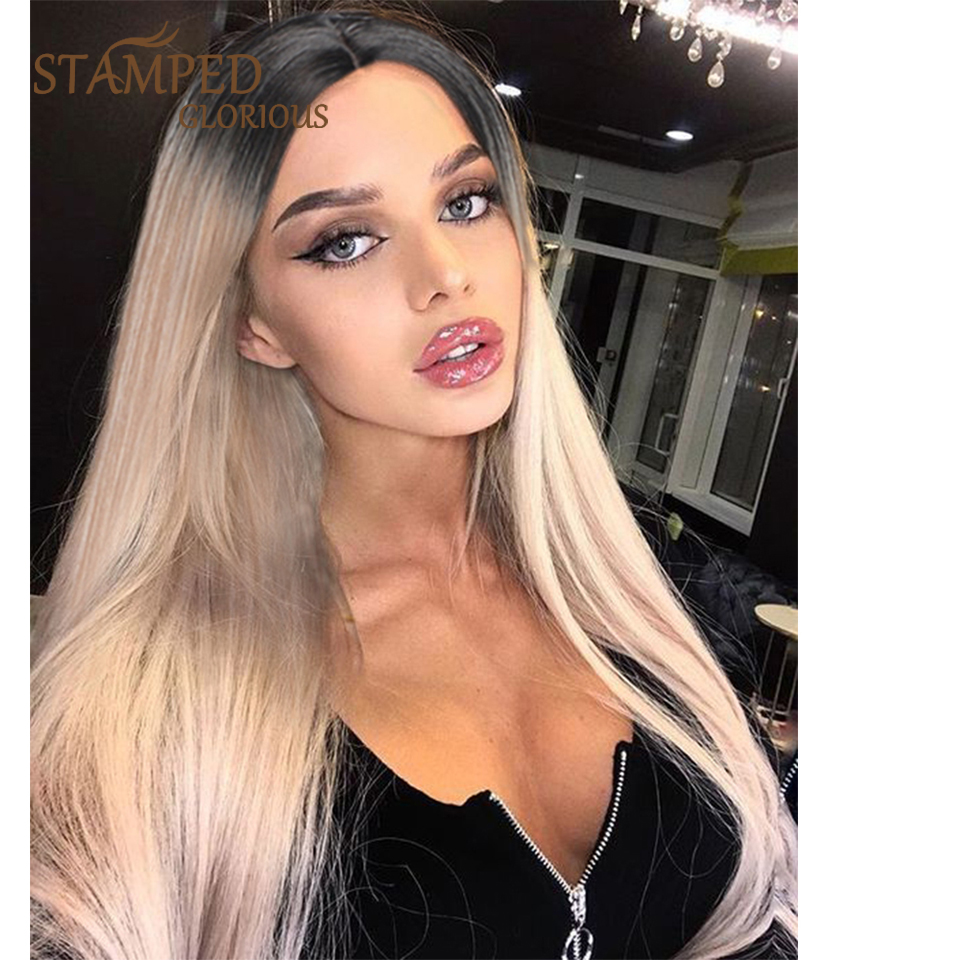 Stamped Glorious Natural Middle Part Long Wig Ombre Black Blonde Wig For Women Heat Resistant Fiber Straight Synthetic Lace Wig