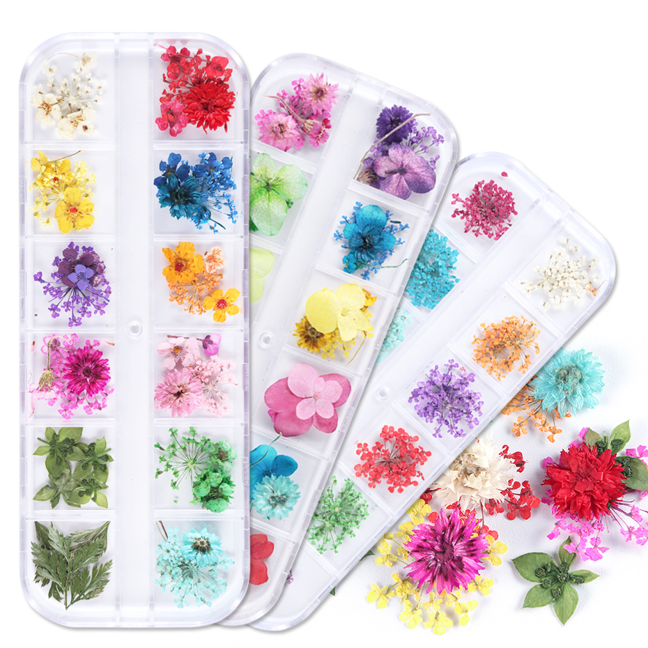 1Case Dried Flowers Nail Art Decorations 3D Natural Florals Jewelry Accessories Manicure UV Gel Polish Nail Decals Tip JIF01-10