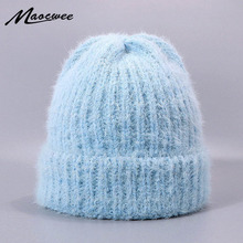 Women Rabbit Hair Beanie Hats Winter Knitted Slouchy Caps Outdoor Warm Soft Beanies For Girl Stylish Female Skullies Hat