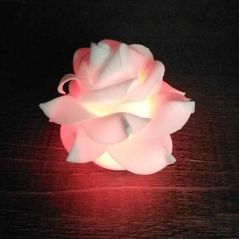 Romantic Rose Flower LED Nightlight Changing 7 Colors Flameless Candle Lights Lamp for Wedding Party Christmas Home Decor