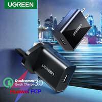 Ugreen carga rápida 3.0 qc 18 w eua reino unido carregador usb qc3.0 carregador rápido para samsung s10 xiaomi iphone huawei carregador do telefone móvel