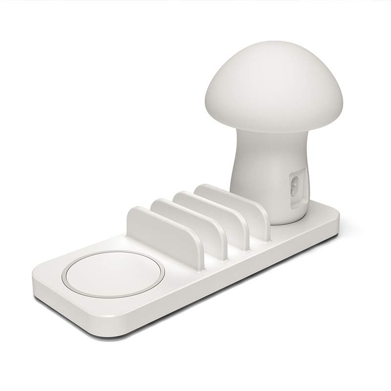 3 Port <font><b>USB</b></font> Fast Charging Phone Charger QC 3.0 Quick Charge Dock Mushroom LED Lamp Light Wireless Charger For iphone <font><b>X</b></font> 8 Samsung image