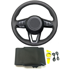 Black genuine leather DIY hand stitched braided steering wheel cover for Mazda CX 3 CX3 CX 5 CX5 2017 2018 car accessories cover