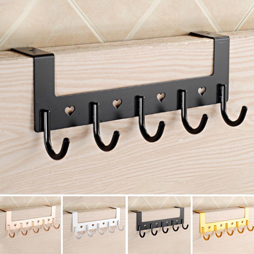 5 Hooks Door Hanging Rack Towel Bag Clothes Hat Holder Hanger Home Organizer|Hooks & Rails| |  - title=