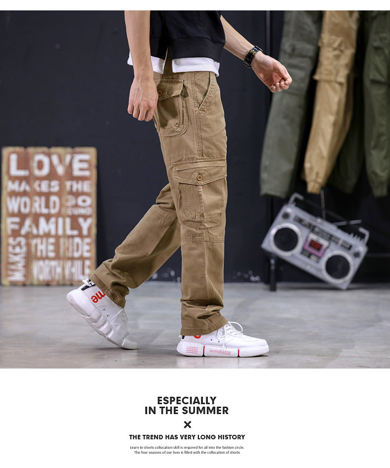 KSTUN 2020 Mens Military Cargo Pants Multi-pockets Baggy Men Cotton Pants Casual Overalls Army Oustdoor Tactical Trousers High Quality 17